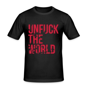 Unfuck The World Red Slim Fit Shirt | Motivational Politics T-Shirt - Männer Slim Fit T-Shirt