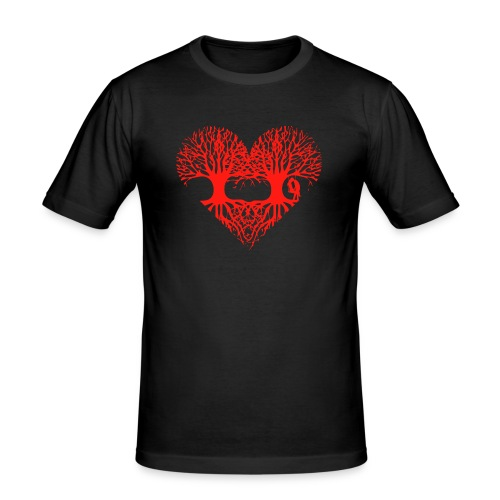 valentinstag herz liebe baum paar wurzeln schaukel T-Shirts - Männer Slim Fit T-Shirt