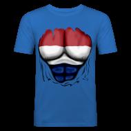 T-Shirts ~ Men's Slim Fit T-Shirt ~ Dutch Flag Ripped Muscles six pack chest t-shirt