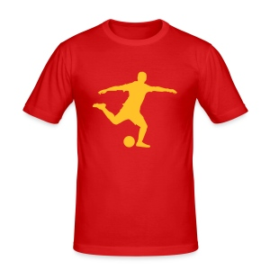 Voetbal schot - slim fit T-shirt