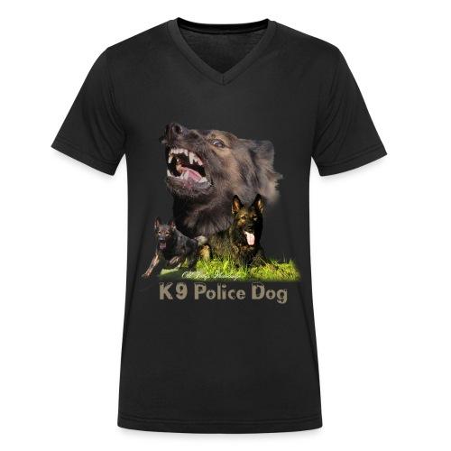 Schäferhund-Police K9-Motiv - Männer Bio-T-Shirt mit V-Ausschnitt von Stanley & Stella