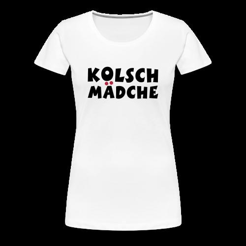 Kölsch Mädche met Ö un Ä (Schwarz/Rot) S-3XL T-Shirt - Frauen Premium T-Shirt
