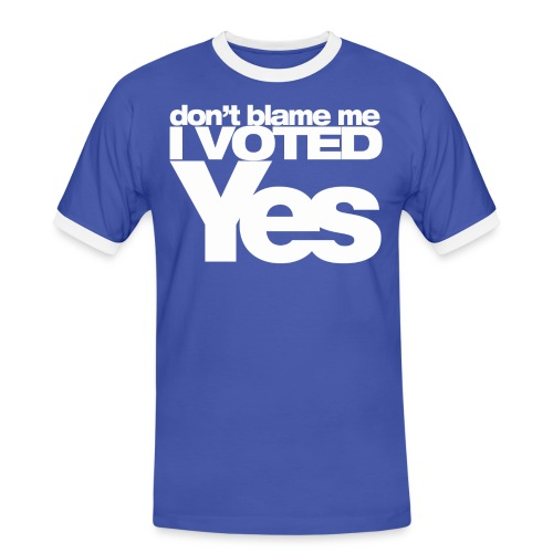 Don't blame me I voted Yes Ringer T-Shirt Blue/White - Men's Ringer Shirt