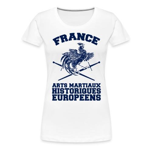 Tee-Shirt F Coq Old School Blanc - T-shirt Premium Femme