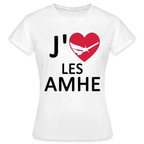TS F J'Aime les AMHE Blanc - T-shirt Femme