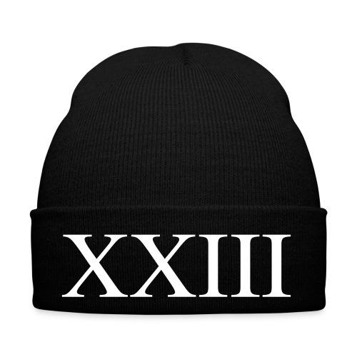 Wintermütze - Schwarze Mütze mit XXIII aufdruck.