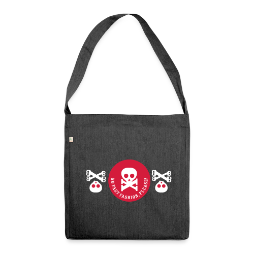 schultertasche, recycling-material, no fast fashion, please! skulls - Schultertasche aus Recycling-Material