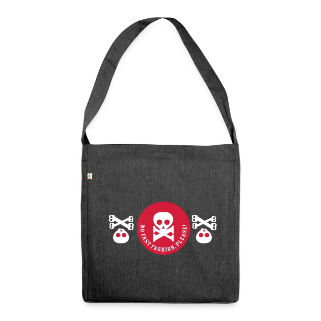 schultertasche, recycling-material, no fast fashion, please! skulls
