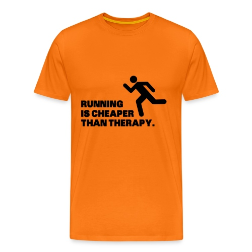running is cheaper then therapy - Mannen Premium T-shirt