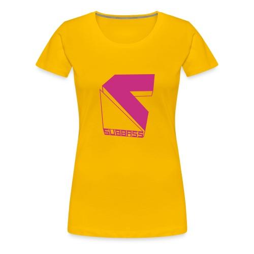 Subbass Girlie - Shirt mit Logo in Neonpink  - Frauen Premium T-Shirt