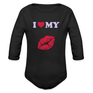 I love my (kiss) - Organic Longsleeve Baby Bodysuit