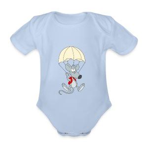 Parachuting Mouse - Organic Short-sleeved Baby Bodysuit