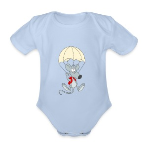 Parachuting Mouse - Organic Short-sleeved Baby Bodysuit