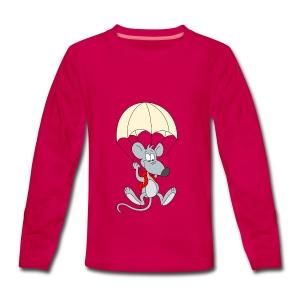 Parachuting Mouse - Teenagers' Premium Longsleeve Shirt