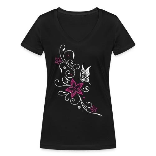Butterfly & Flowers - Frauen Bio-T-Shirt mit V-Ausschnitt von Stanley & Stella