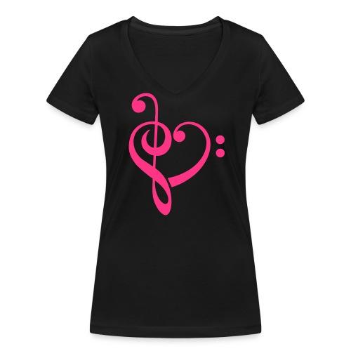 Notenschlüssel - Frauen Bio-T-Shirt mit V-Ausschnitt von Stanley & Stella