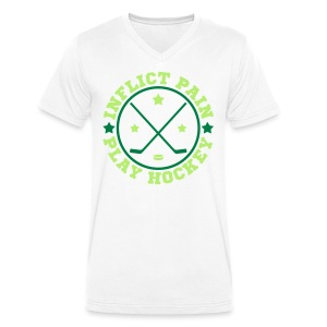 Inflict Pain Play Hockey V-Neck T-Shirt - Men's Organic V-Neck T-Shirt by Stanley & Stella