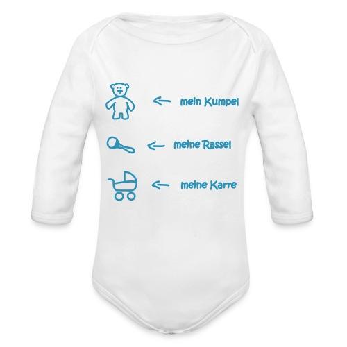 mein kumpel meine rassel meine karre - Baby Bio-Langarm-Body
