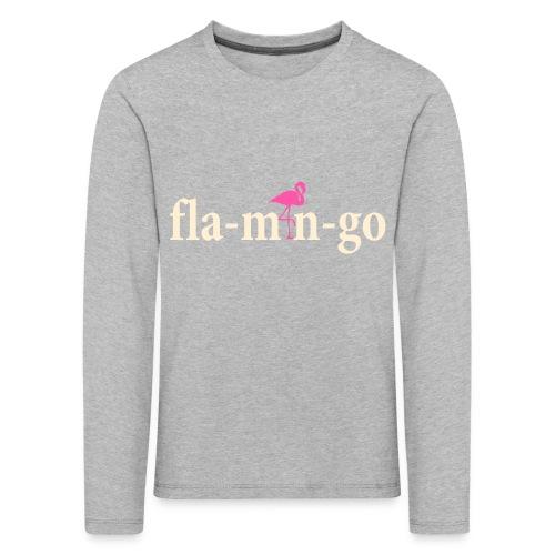 Flamingo Longsleeve Kids White Text - Kinderen Premium shirt met lange mouwen