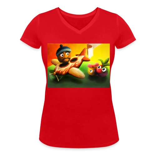 Frutorious FIG Ladies V Neck Tee - Women's Organic V-Neck T-Shirt by Stanley & Stella