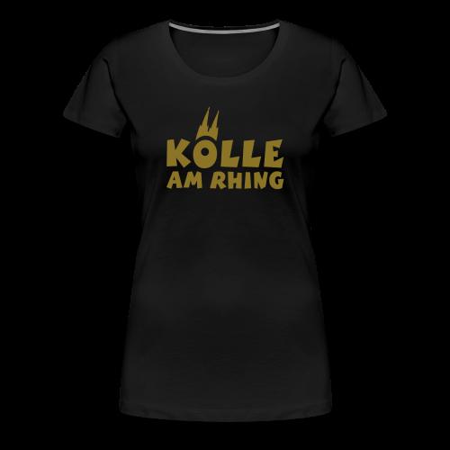 Kölle am Rhing T-Shirt (Damen Schwarz/Gold) - Frauen Premium T-Shirt