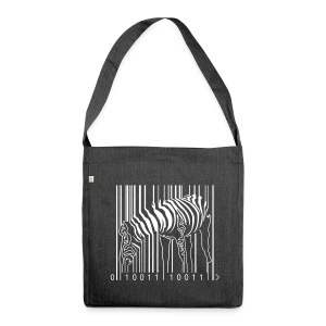 Recycled Shoulder Bag Zebra Barcode - Shoulder Bag made from recycled material