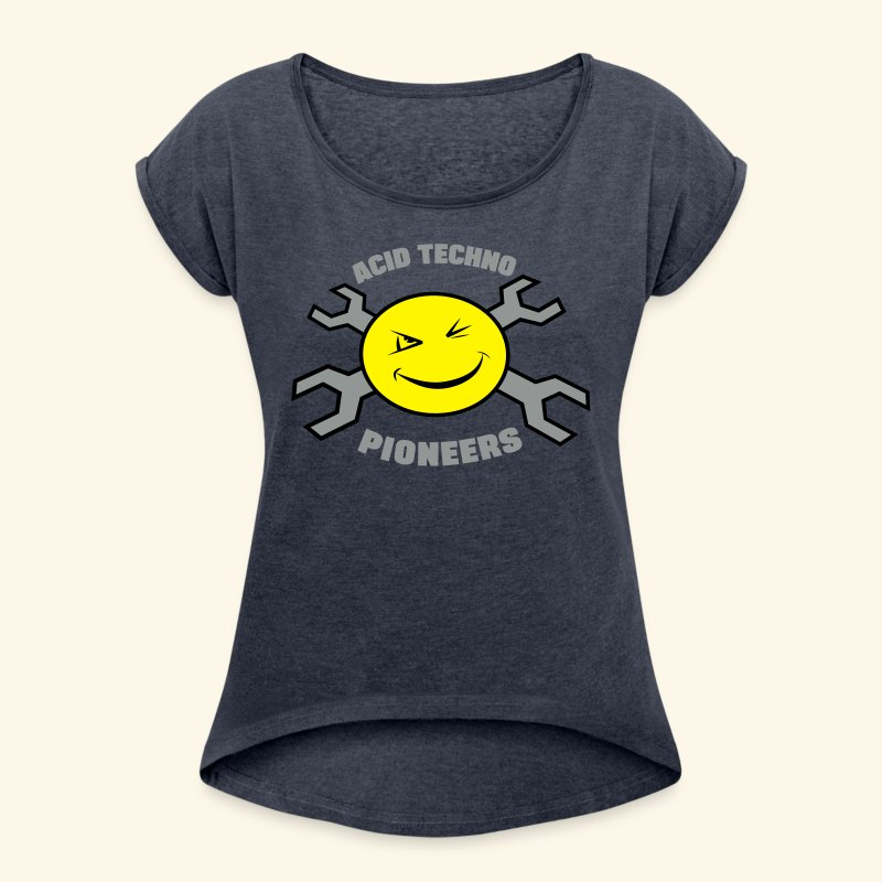 Acid Techno Pioneers Women's T-shirt with rolled up sleeves - Women's T-shirt with rolled up sleeves