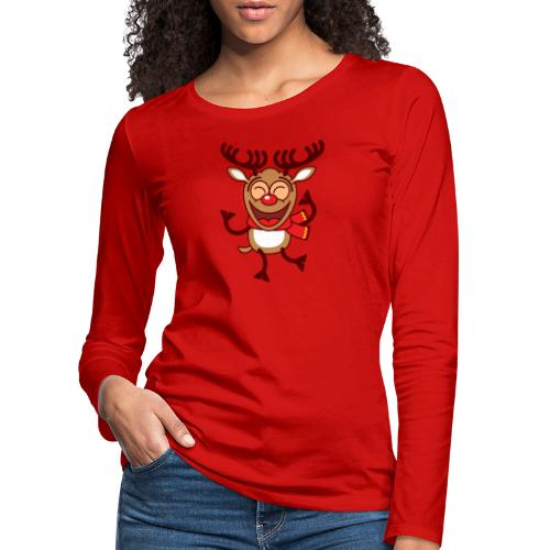 Christmas Reindeer Dancing Animatedly Long Sleeve Shirts - Women's Premium Longsleeve Shirt