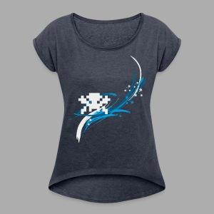 Pixel Splash Shirt - Digitaldruck - Frauen T-Shirt mit gerollten Ärmeln