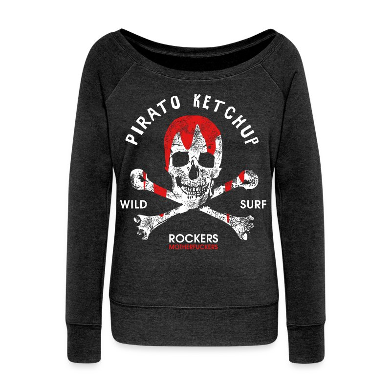 Pirato Ketchup'ed Skull (styled sweat shirt) - Women's Boat Neck Long Sleeve Top