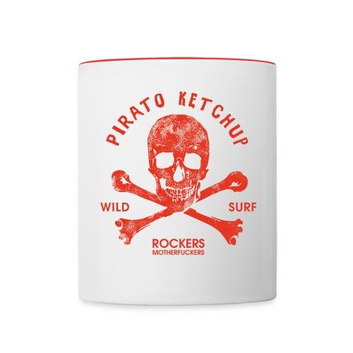 Pirato Ketchup Red Skull (retro mug) - Contrasting Mug