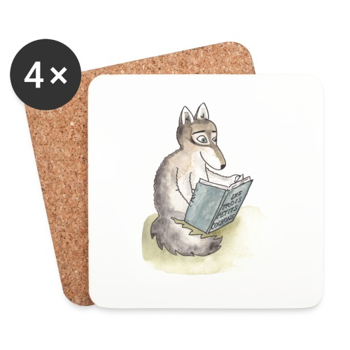 Sous-verre animals reading - loup - Dessous de verre (lot de 4)