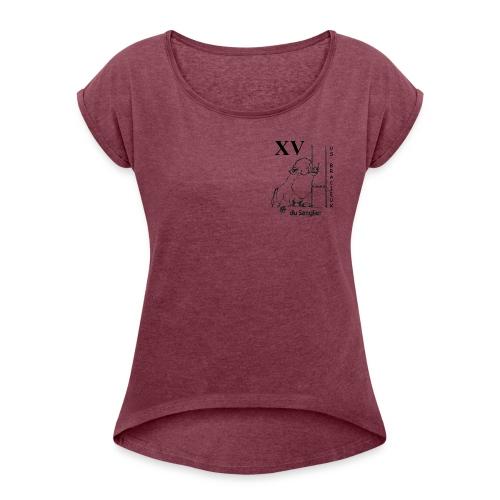 Tee shirt femme manches retroussées XV du sanglier - T-shirt à manches retroussées Femme