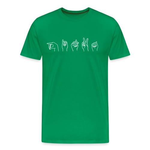 Viittomapaita, vihreä - Miesten premium t-paita