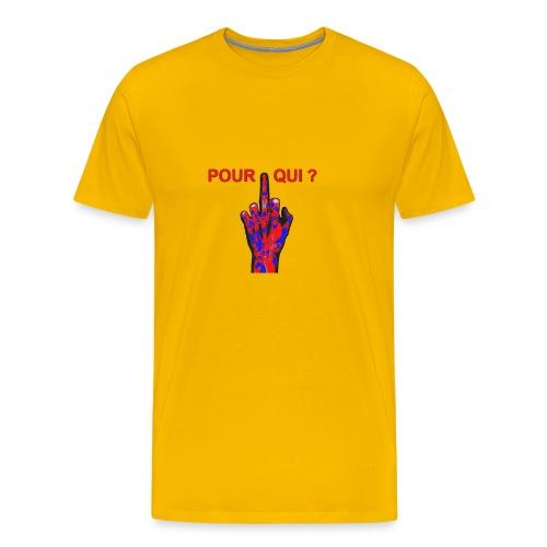TSHIRT JAUNE HOMME DOIGT POUR QUI - T-shirt Premium Homme