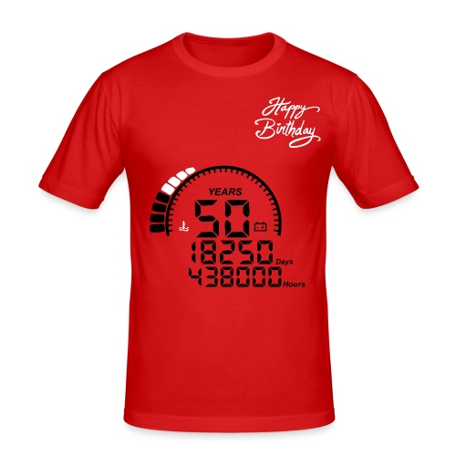 T-Shirt 50 ans - rouge - T-shirt près du corps Homme