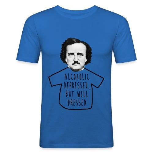 Poe Alcohólico [azul] - Camiseta ajustada hombre
