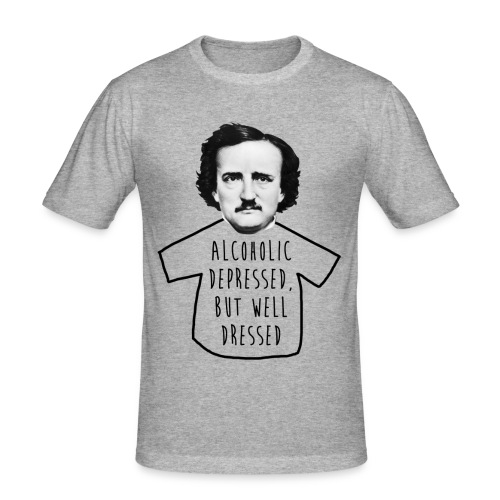 Poe Alcohólico [gris jaspeado] - Camiseta ajustada hombre