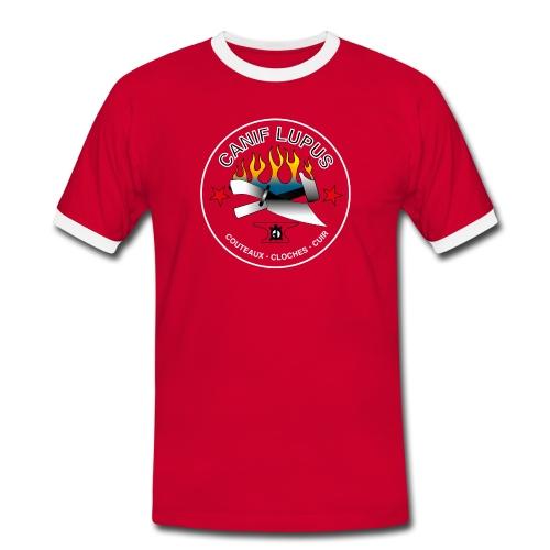 Canif Lupus blanc sur rouge - T-shirt contrasté Homme