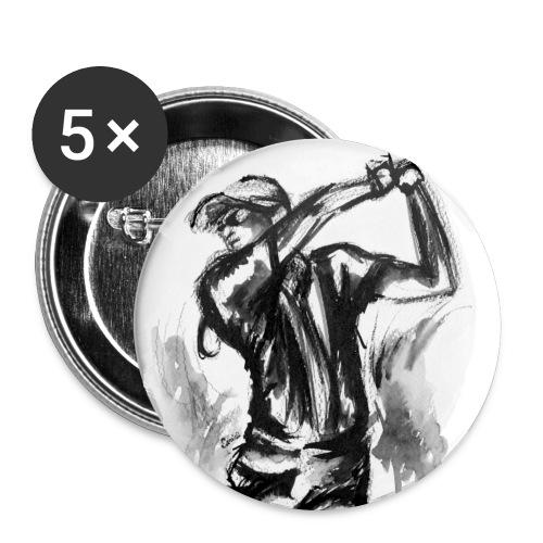 Golf, Le swing en aquarelle - Lot de 5 grands badges (56 mm)