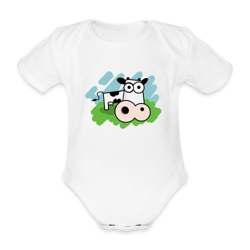 Rompertje Koe - Baby bio-rompertje met korte mouwen