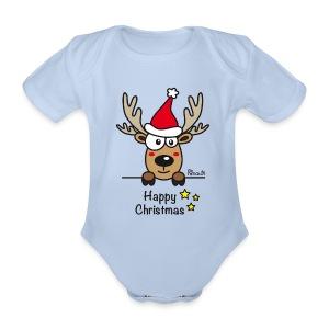 Body Bébé, Baby Renne, Noël - Happy Christmas - Body bébé bio manches courtes
