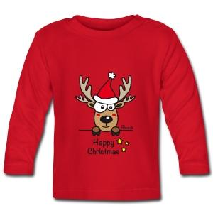 Tee shirt manches longues Bébé, Baby Renne, Noël - Happy Christmas - T-shirt manches longues Bébé