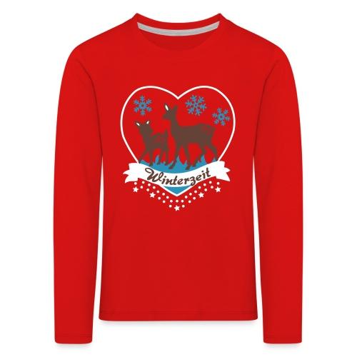 Winterzeit, Rehe, Weihnachten - Kinder Premium Langarmshirt