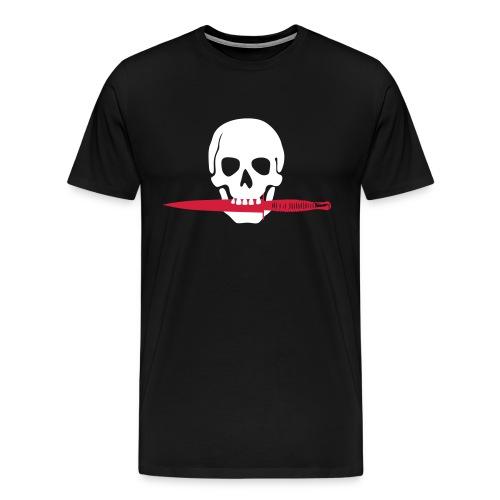 Teschio e pugnale in bocca - Maglietta Premium da uomo
