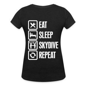 Eat Sleep Skydive Repeat - T-shirt col V Femme