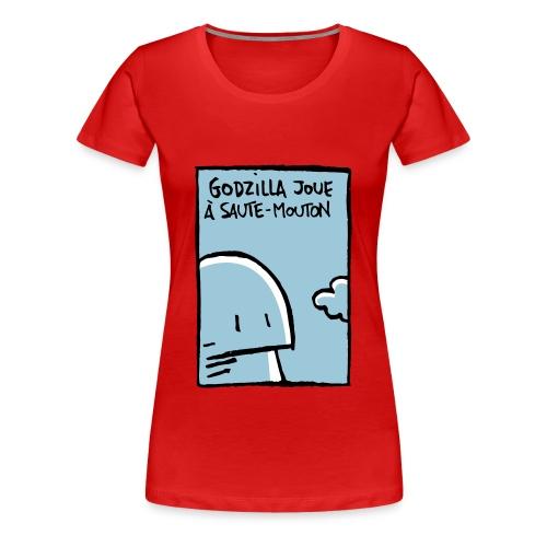 Godzilla joue à saute-mouton - Women's Premium T-Shirt