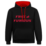 Hoodies & Sweatshirts ~ Contrast Colour Hoodie ~  Sweat a capuche noir interrieur rouge FAST & FURIOUS 7, swagg unique