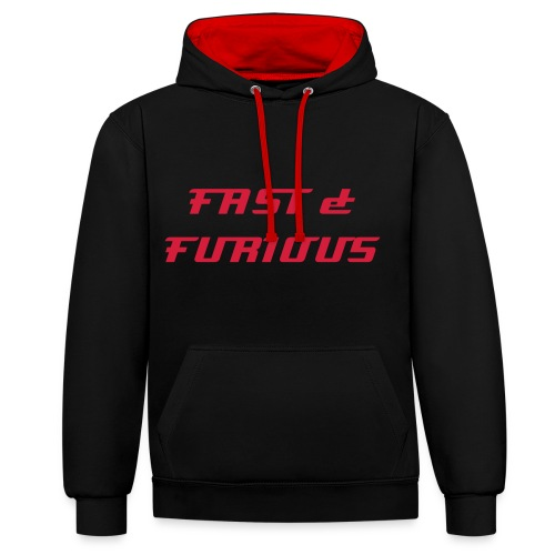 Sweat a capuche noir interrieur rouge FAST & FURIOUS 7, swagg unique - Contrast Colour Hoodie