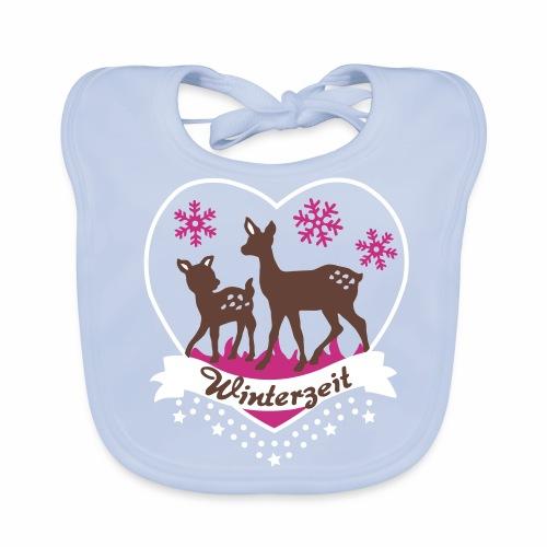 Winterzeit, Rehe, Weihnachten - Baby Bio-Lätzchen
